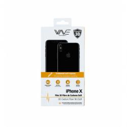 Protection d'écran 3D iPhone X en fibre de carbone Noir