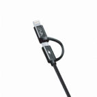 Câble Data - Nylon Elégance 2en1 - Lightning / Micro USB Noir