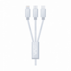Câble Data - Nylon Elégance 3en1 - Lightning / Micro USB / USB-C Argent