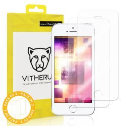 VITHERUM Gold pour iPhone 5 / 5s / 5SE lot de 2 verres trempés 2,5D, film de protection ultra résistant 9H et 188mJ