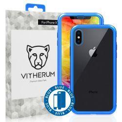 Vitherum Silver Premium Glass Pack (Verre trempé incurvé à l'avant + Etui en verre magnétique) iPhone X / XS Bleu