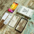 Vitherum Silver Premium Glass Pack (Verre trempé incurvé à l'avant + Etui en verre magnétique) iPhone XS Max Noir