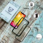 Vitherum Silver Premium Glass Pack (Verre trempé incurvé à l'avant + Etui en verre magnétique) iPhone XR Noir