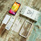 Vitherum Silver Premium Glass Pack (Verre trempé incurvé à l'avant + Etui en verre magnétique) iPhone XR Argent
