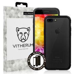 Vitherum Silver Premium Glass Pack (Verre trempé incurvé à l'avant + Etui en verre magnétique) iPhone 8 + / 7 + Noir