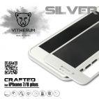 Vitherum Silver Premium Glass Pack (Verre trempé incurvé à l'avant + Etui en verre magnétique) iPhone 8 + / 7 + Argent