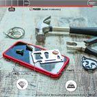 Vitherum Silver Premium Glass Pack (Verre trempé incurvé à l'avant + Etui en verre magnétique) iPhone X / XS Rouge