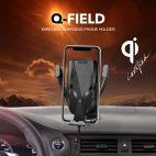 PITHA Q-Field - Chargeur Allume-Cigare sans Fil Haute Vitesse certifié Qi 10W avec Pince Automatique et Support Universel