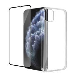 Pack de protection : verre trempé + coque transparente