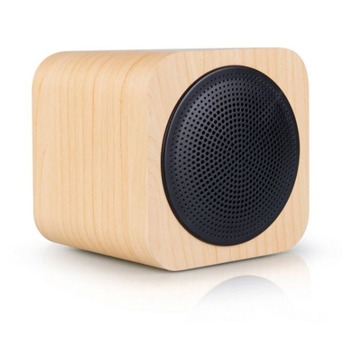 enceinte design cube avwoo bluetooth et son st r o en bois ynotek. Black Bedroom Furniture Sets. Home Design Ideas