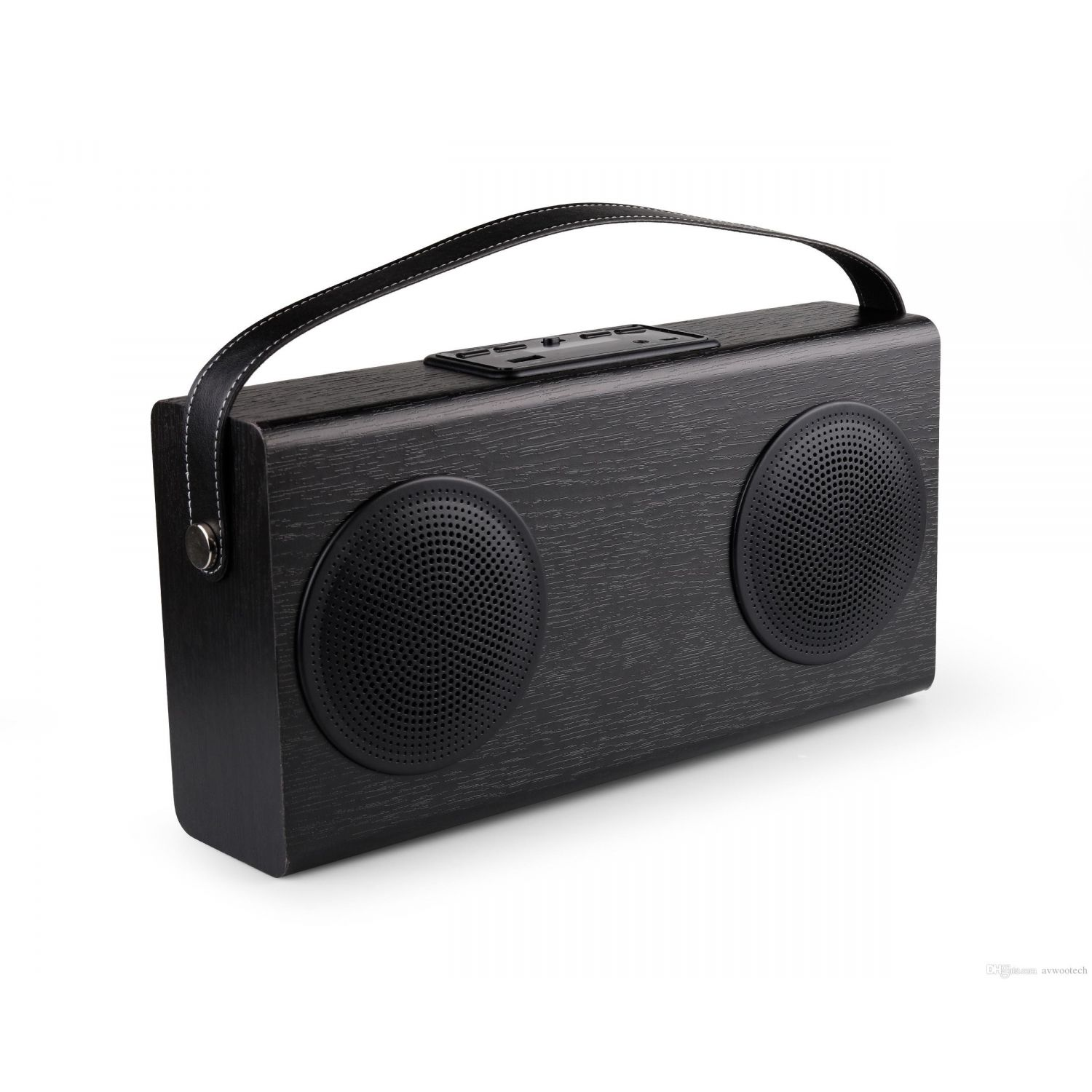 enceinte connect e design r tro bluetooth et radio fm avwoo en bois noir. Black Bedroom Furniture Sets. Home Design Ideas